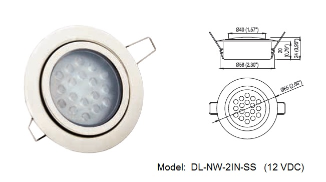 Truck Recessed Mount Waterproof Auto and Aircraft Britta Products DL-NW-2IN-SS-12V Waterproof LED Dome Light Marine 200 Lumen RV Cool White High Power 2.3 LED Downlight 12VDC