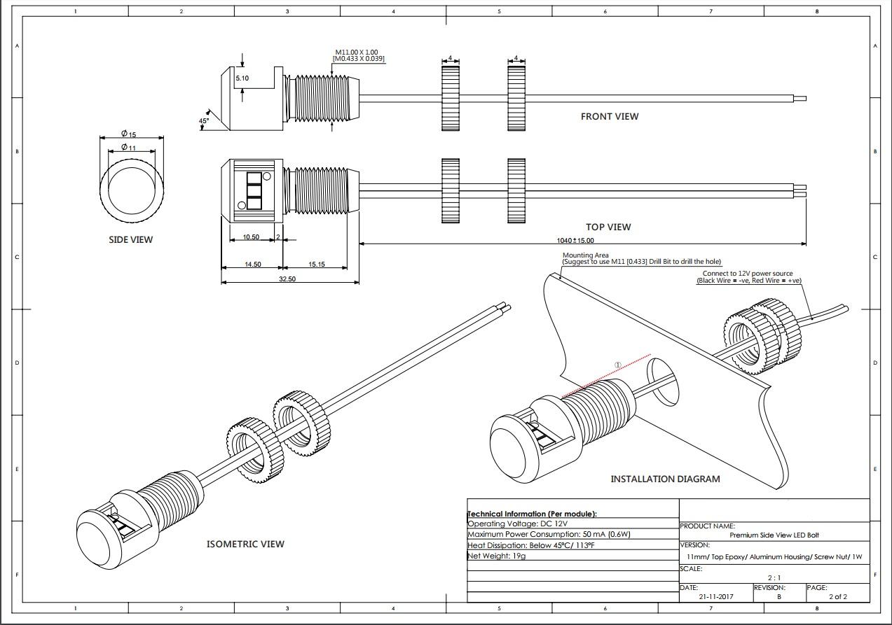 Premium Panel Post Light - 11mm - 12V - Red or Cool White ...